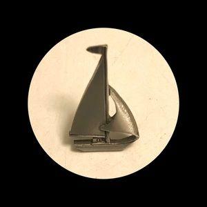 Pewter sailboat tie tack lapel pin